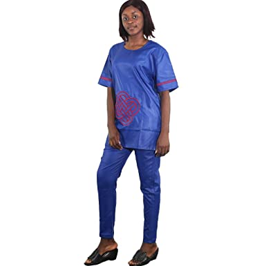 b8152ba8c8a0d1 Amazon.com  H D African Couples Clothes Embroidery Pattern Top Shirt ...