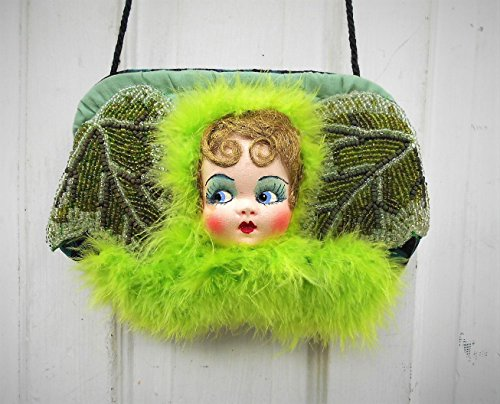 Flapper Night Out Purse, Flapper Face in Chartreuse Feather Boas, Flapper Marquee Lights & Pale Green Marabou Feathers. One of a Kind! by EMENOW