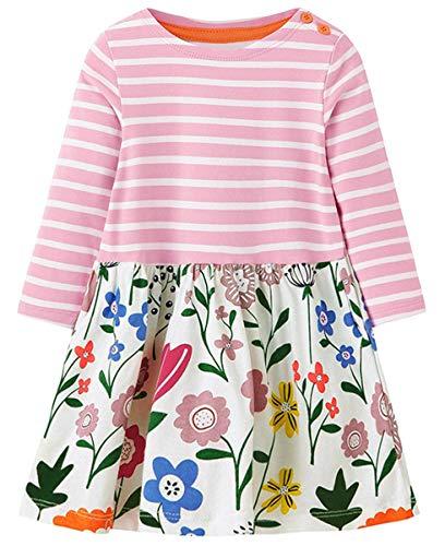 (lymanchi Little Girls Cotton Long Sleeve Dress Toddler Casual Striped Dresses Cute Playwear Dress A)