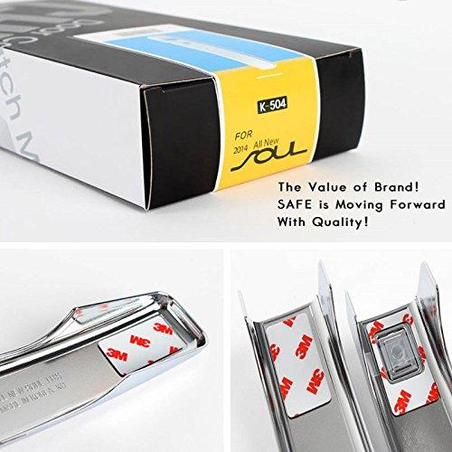 SAFE K504 SAFE Front Rear LH RH Chrome Door Catch Molding Trim Handle Cover 9-pc Set For 2014 Kia All New Soul