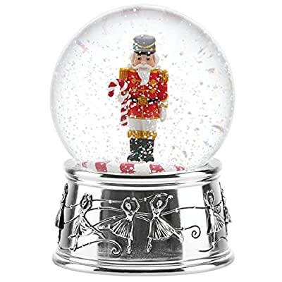 Reed & Barton Jingle All The Way Nutcracker with Candy Cane Small Snowglobe