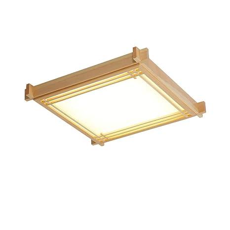 Amazon.com: Lámpara de techo cuadrada de madera brillante ...