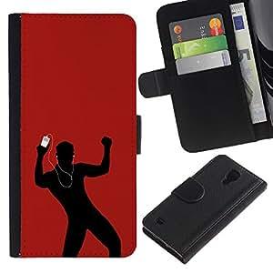 iKiki Tech / Cartera Funda Carcasa - Dance Music Love Red Man Earphones - Samsung Galaxy S4 IV I9500