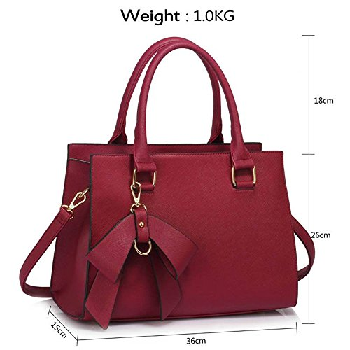 Great BURGUNDY Bow Nice Shoulder Leather Faux Bags LeahWard Handbags Tote Women's Charm 348 7twYzXq