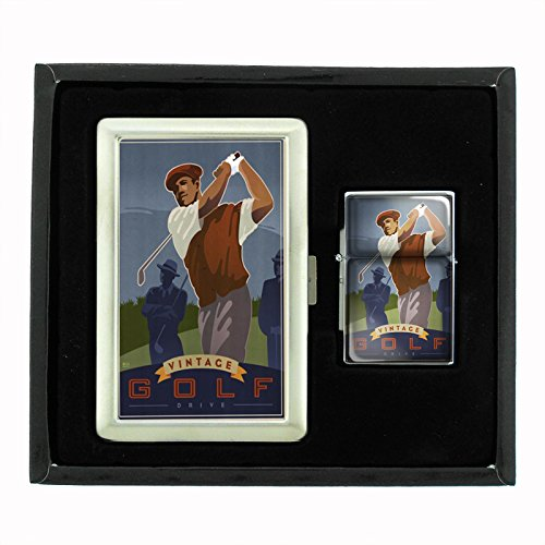 Perfection In Style Cigarette Case and Oil Lighter Gift Set Vintage Golf Design 004 by Perfection In Style
