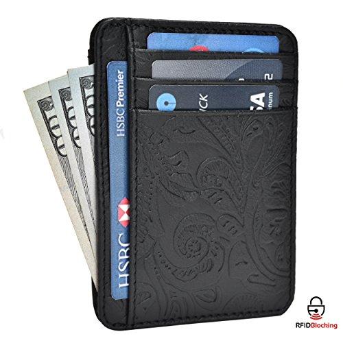Estalon RFID Front Pocket Wallet Minimalist Wallets Leather Slim Wallet Money Clip RFID Blocking with Gift Box (Black Flower)