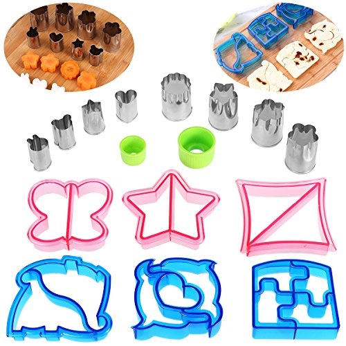 Six Piece Triangle Cutter - OUNONA 16PCS Sandwich Cutters Set - 6 Bread Cutters with 8 mini Vegetable Cutter Shapes Set for Kids