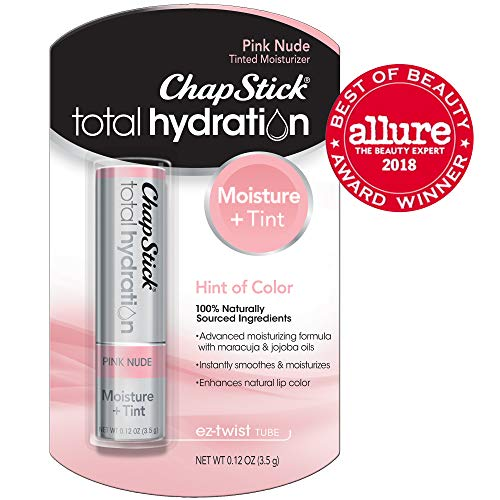(ChapStick Total Hydration (Pink Nude Tint, 1 Blister Pack of 1 Stick) Tinted Moisturizer, 100% Natural Lip Color and Lip Treatment, 0.12 Ounce)