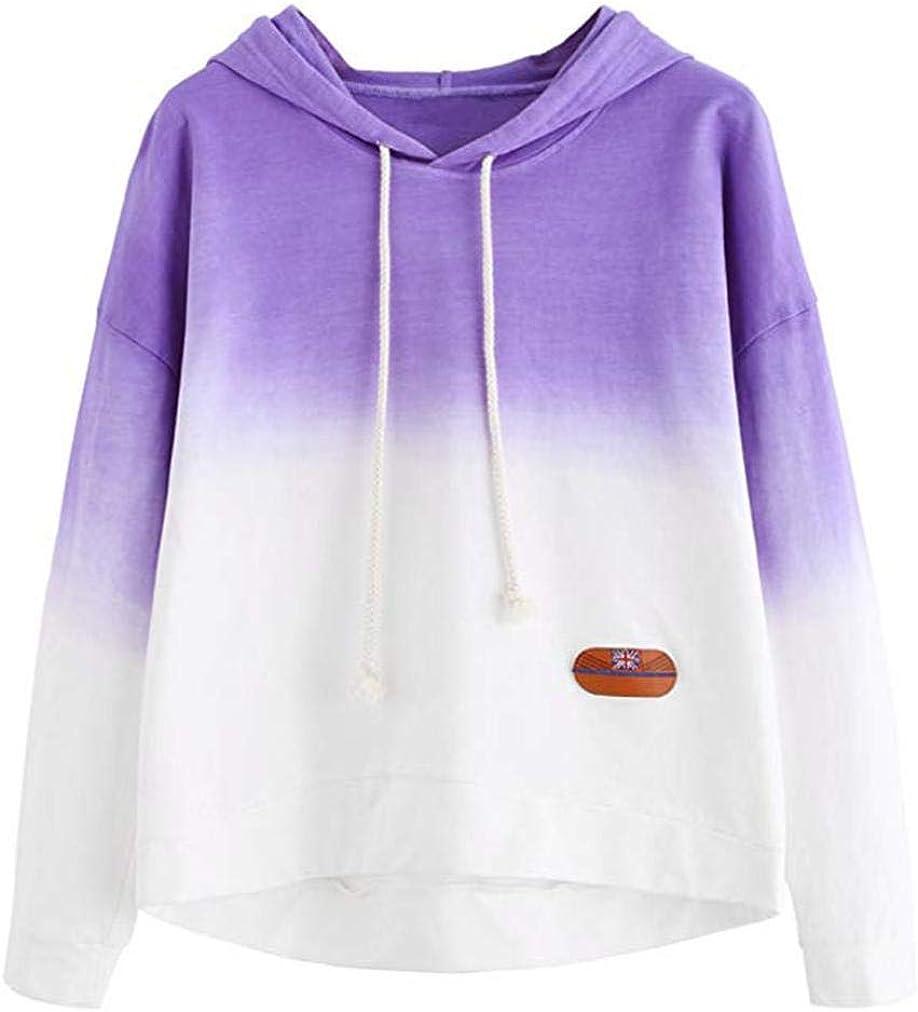 Womens Long Sleeve Hoodie Sweatshirt Colorblock Tie Dye Print Pullover Shirt Blouse Patchwork Tops Newest