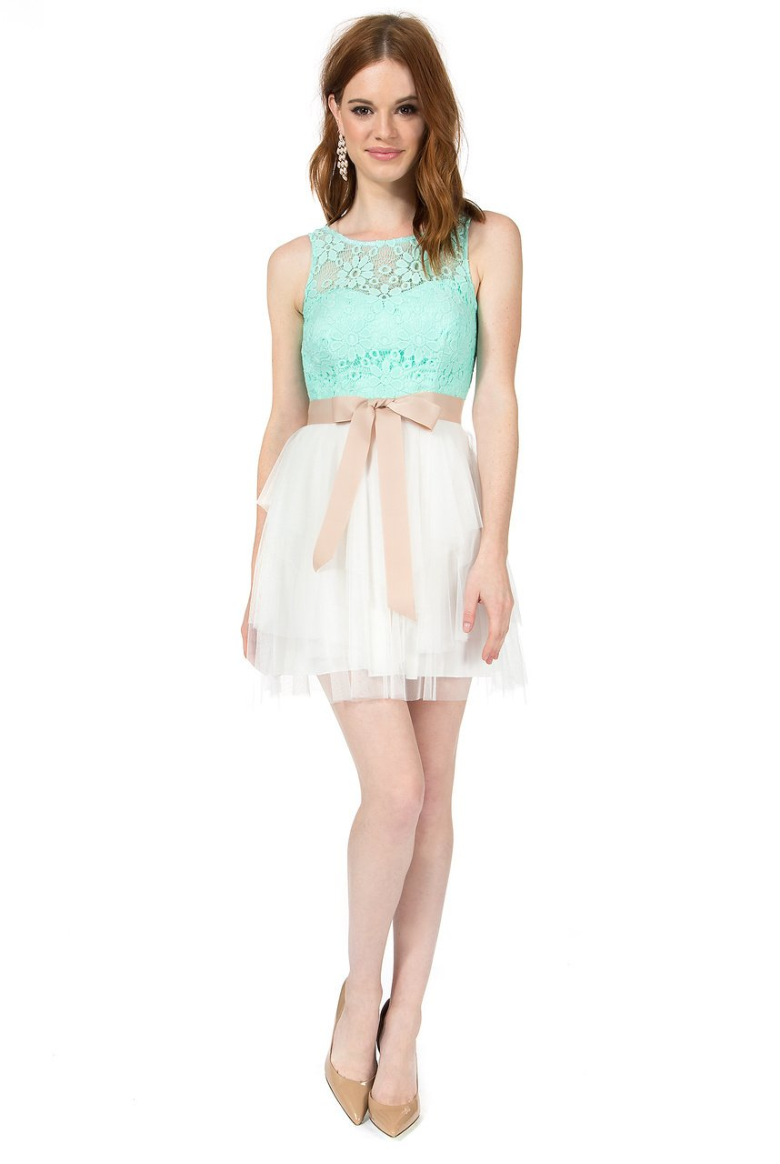 Teeze Me Juniors Sleeveless Illusion Top Tiered Skirt Dress With V Back by Teeze Me (Image #3)