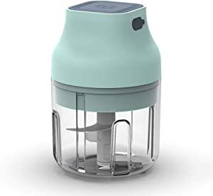 Pinky Max Electric Garlic Chopper, Cyan Cordless Mini Food Chopper Electric/Palm-sized Blender to Chop Fruits/Vegetables/Garlic/Onion for Salsa/Salad/Pesto/Coleslaw for Kitchen Gadgets (250ML)