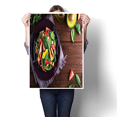 The Picture for Home Decoration Salad Plate with Avocado Strawberry Chicken and Spinach Painting,12