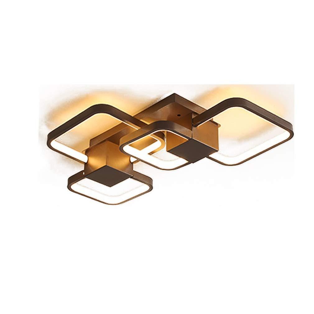 LED Acryl Deckenleuchte 4-Flamme Warmes licht Deckenlampe Modern Einfachestil eckig Brown Eisen Lampenkörper Kreative Lampe Persönlichkeit Restaurant Wohnzimmer Schlafzimmer Design lamp 53 * 40cm 30W