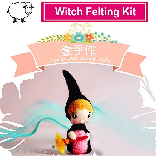 YSZ 羊毛フェルトフェルトキットドールニードルメリノフェルトウール(チュートリアル付き)、3本針付きフェルトスターター7x3.5cm Elf Needle Felting Kits (リトルウィッチ)
