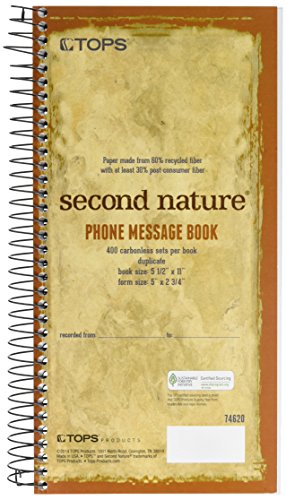 TOPS Second Nature Recycled Phone Message Book, Carbonless Duplicate, 2.75 x 5 Inches, 400 Sets per Book (74620)