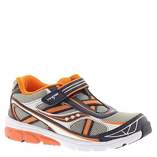Saucony Kids Boy's Baby Ride 7  Grey/Navy/Orange Sneaker 4.5