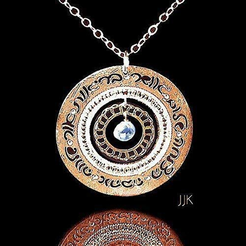 (Hebrew Blessings Jewelry, Gold Necklace, Blue Topaz Jewelry, Blessings Necklace, Unique Jewelry, Inspirational Jewelry, Hebrew Jewelry for)