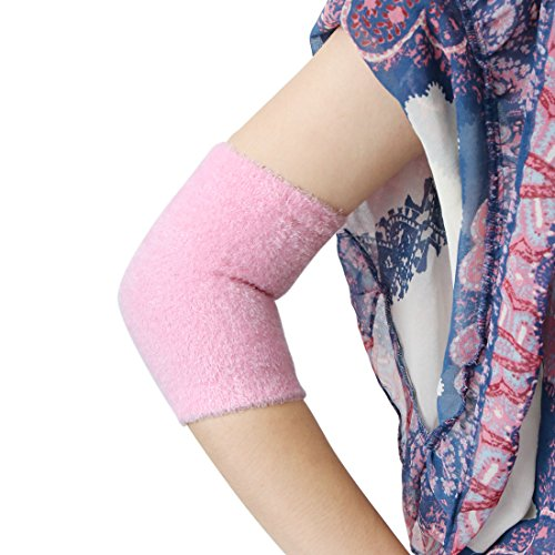 uxcell 1 Pair Elbow Gel Cover Moisturizing Sleeves Exfoliating Soften Dry Cracked Skin Pink