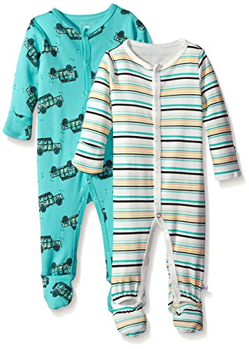 Rosie Pope Baby Boys' Coveralls 2 Pack, Trucks/Stripes, 6-9 Months