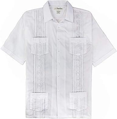 Foxfire Big & Tall Guayabera Camisa Informal para Hombre - Blanco - Alto 3XLT: Amazon.es: Ropa y accesorios