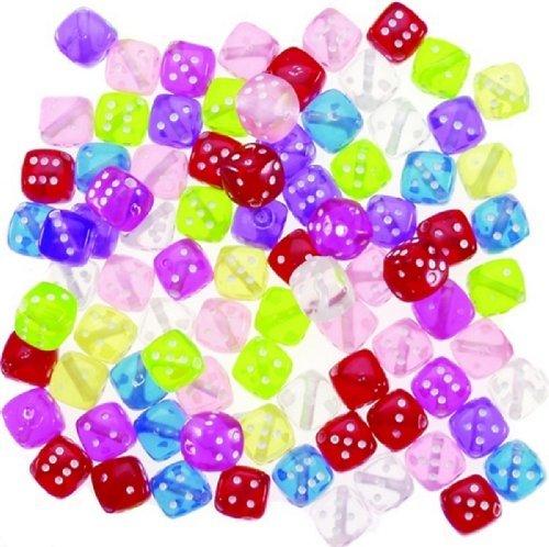 Darice 200-Piece Transparent Dice Beads, 8mm, Multiple Colors Dice Jewelry