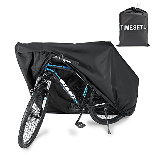 TIMESETL 210T Bike Cover for One Bike 190x 65x98cm Outdoor Indoor Anti Dust Rain Wind UV Protector – Black