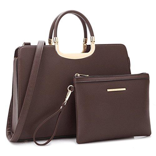 Designer Women Laptop Briefcase, Large Handbag for Lady PU Leather Satchel Lightweight Tote Summer Cross-Body Purse 19-2828 CF