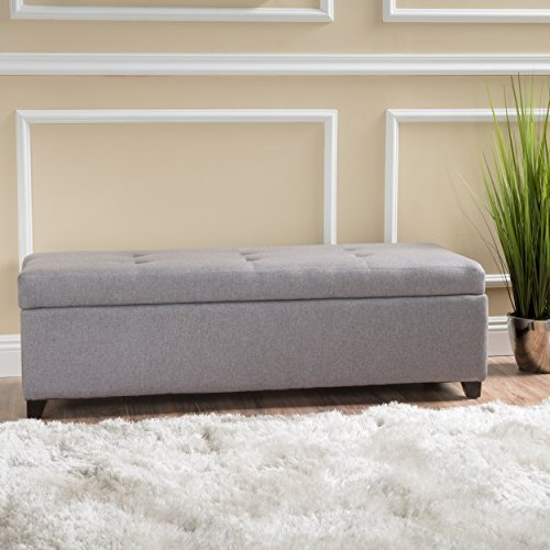 Christopher Knight Home 298889 Living Bajia Grey Fabric Stoarge Ottoman