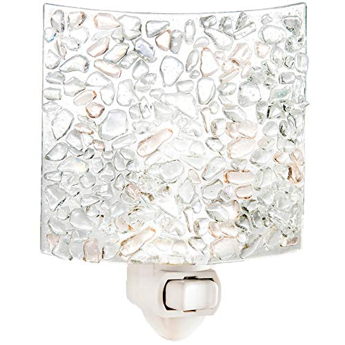 J Devlin NTL 155 Fused Clear Chips Glass Night Light Decorative Modern Home Accent Lite Bathroom Bedroom Kitchen Nursery