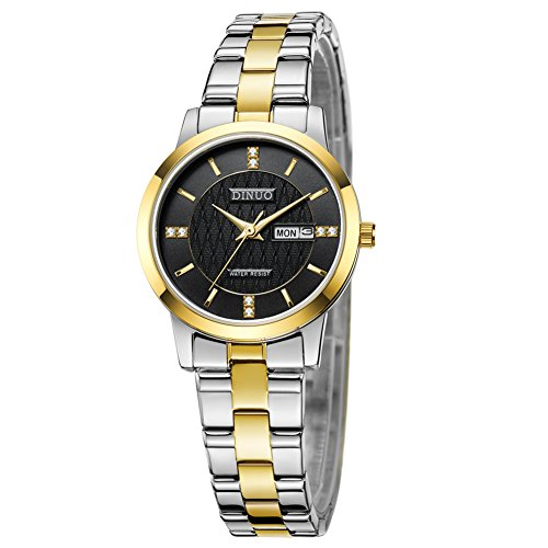 Women Gold-Tone Stainless Steel Two-Tone Dress Analog Quartz Wrist (Dress Two Tone Wrist Watch)
