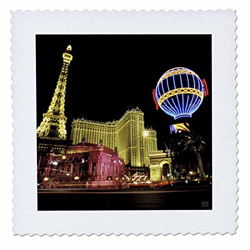 - 3dRose qs_37789_9 Paris Hotel and Casin at Las Vegas Strip United States Quilt Square, 22 by 22-Inch