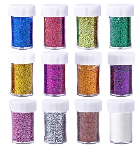 Korlon Glitter Powder Shakers, Extra Fine Glitter Set, Arts and Crafts Supplies Loose Cosmetic Glitter, Great for Slime, Scrapbooking, Face, Body, Nail Arts, Holiday Craft, Assorted Colors, Set of (Blue Holiday Craft)