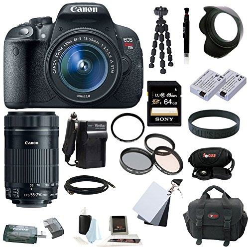 Canon EOS Rebel T5i 18.0 MP CMOS Digital Camera with EF-S 18-55mm f/3.5-5.6 IS STM Zoom Lens and Canon EF-S 55-250mm f/4-5.6 IS STM Lens plus 64GB Deluxe Accessory Bundle (Cmos Camera Lcd)
