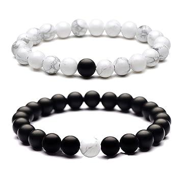 2pcs Distance Bracelets Energy Healing Stone Beads Bracelet Couple Jewelry 22