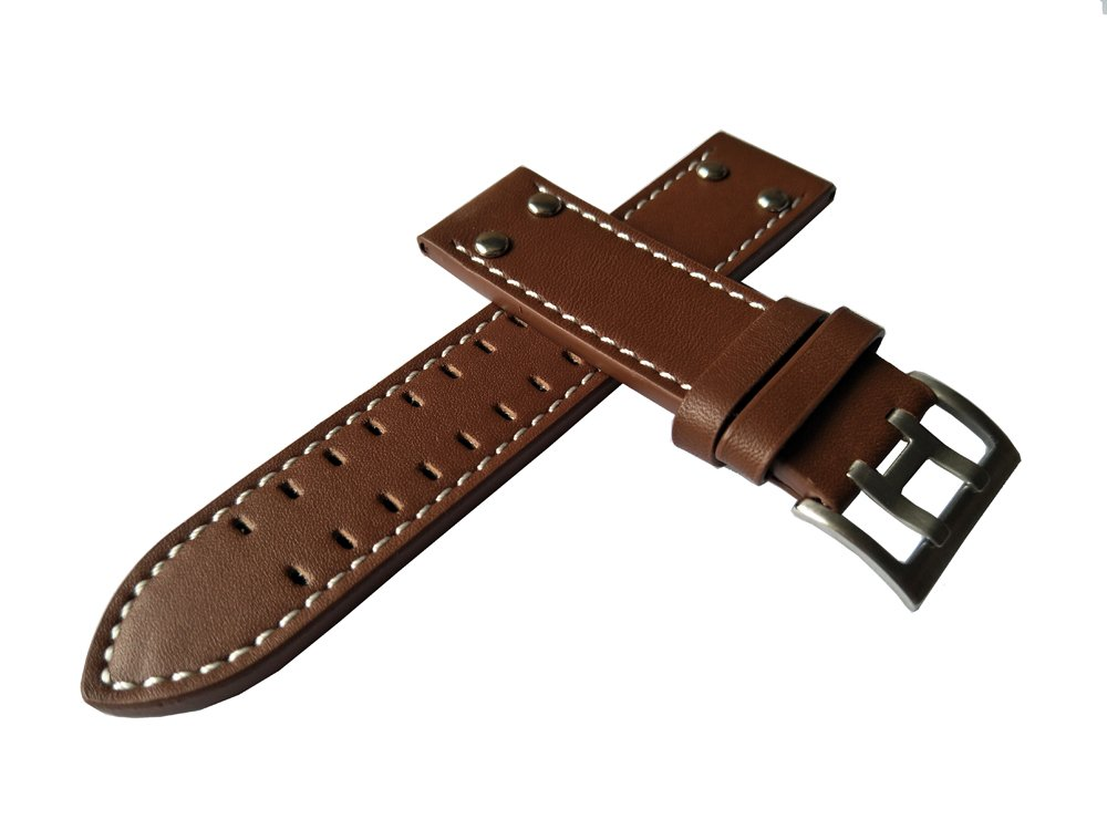 MSTRE NP125 22mm Watch Band Suitable for Hamilton Watches with Steel Buckle for Men&Women (20mm, Brown) by MSTRE (Image #5)