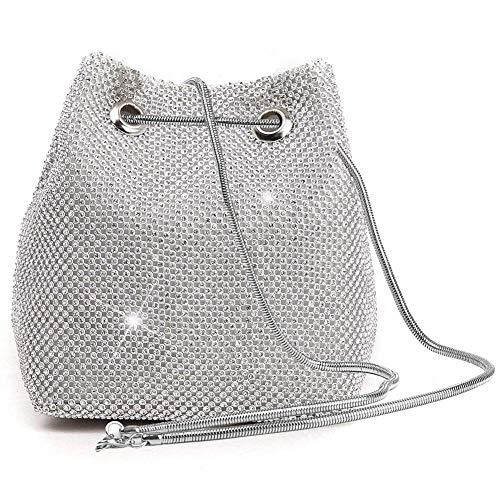 (P&R Luxury Full Rhinestones Women's Evening Crossbody Bag Party Prom Wedding Purse (silver) )