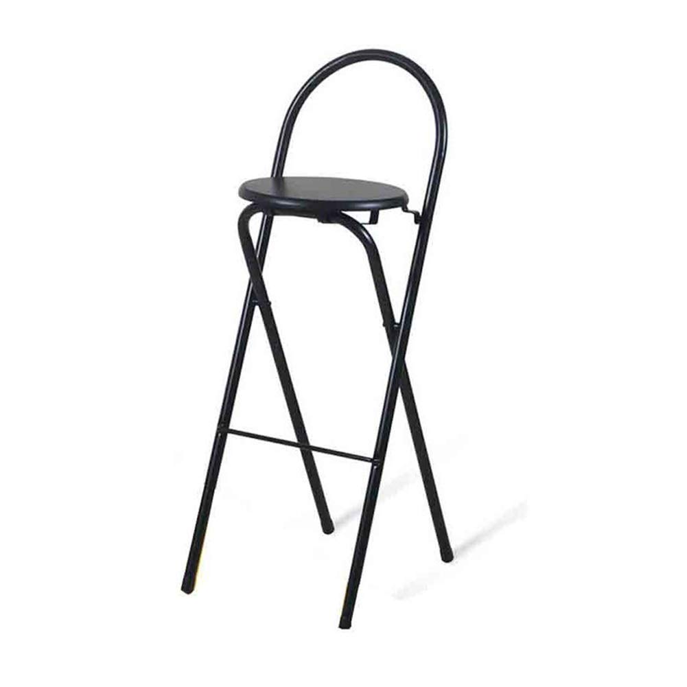 BLACK XUERUI Barstools Bar Stools, Bar Chair, High Chair, Folding Chair, Dining Chair, Iron, Soild Wood, Simple Modern with Backrest Adult Home Strong Stability (color   Black)