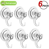 LUXEAR Suction Cup Hooks, Powerful Suction Hooks (6 Pack), Shower Suction Cup Hooks Holder, Heavy Duty Vacuum Suction Hooks, Hooks For Bathroom Kitchen Shower Towel Bathrobe Loofah Office Key Bag Coat