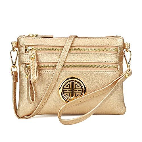 Maya Karis Purse Multi-Zipper Soft Crossbody, Lightweight Women Clutch Vintage Messenger Bag Small Travel Shoulder Purse MKP-WU001L-ROSE Gold