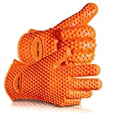 TOPULORS 2019 BBQ Grilling Gloves Oven Mitts Gloves for Cooking Baking Barbecue Potholder(Orange)