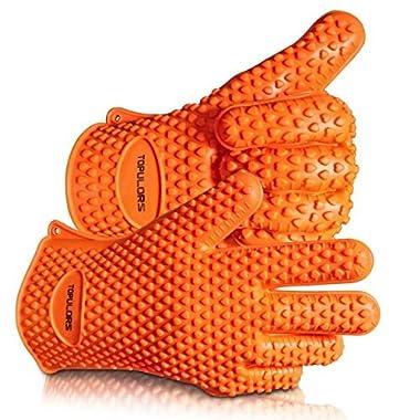 TOPULORS BBQ Grilling Gloves Oven Mitts Gloves for Cooking Baking Barbecue Potholder(Orange)