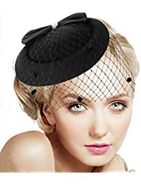 Fascinators for Women Feather Fascinator Hats Headband Pillbox Hat for Wedding Church Deryby Tea Party