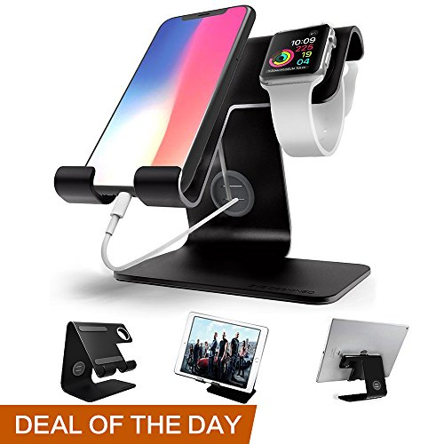 ZVEproof Universal Cell Phone Stand, Apple iwatch Charger Stand for iWatch, all Android Smartphone, iPhone 6 6s 7 8 X Plus, Accessories Desk, Nintendo Switch, Tablets(Up to 12.9 inch) - Black
