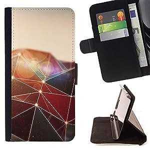 - Polygon Triangle Design - - Prima caja de la PU billetera de cuero con ranuras para tarjetas, efectivo desmontable correa para l Funny HouseFOR Apple Iphone 6 PLUS 5.5