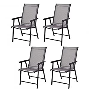 MD Group Patio Chairs Foldable Design Sturdy Durable Steel Frame Outdoor Seat with Armrest 4Pcs