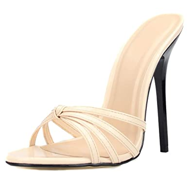 f2656fd2df2 MAIERNISI JESSI Unisex Men s Women s Peep Toe Open Back Crossed Straps  Stiletto High Heel Slide Sandals