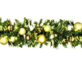 Winterland WL-GARSQ-09-WOOD-LWW Led Sequoia Garland Decorated With The Woodland Ornament Collection