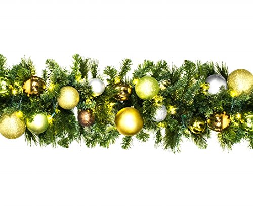 Winterland WL-GARBM-09-WOOD-LWW Led Blended Pine Garland Decorated With The Woodland Ornament Collection