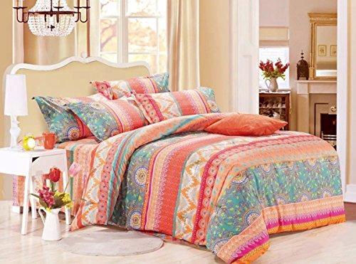 Wake In Cloud - Bohemian Comforter Set King, 3-Piece Orange Coral Boho chic Mandala Pattern Printed, Soft Microfiber Bedding (3pcs, King Size)