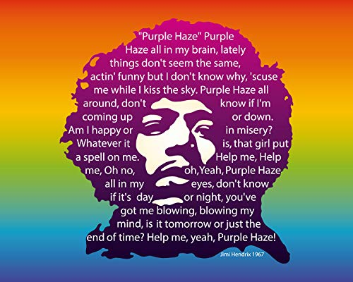 "Jimi Hendrix-""Purple Haze""- Song-Word Art- 10 x 8"" Music Wall Art Print. Psychedelic Poster Print-Ready To Frame. Home-Studio-Bar-Dorm-Man Cave Decor. Perfect for All 60"